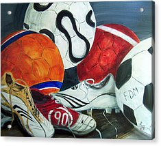 Boots N Balls Acrylic Print by Pete Maier