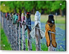 Acrylic Print featuring the photograph Boots On The Fence by Linda Unger