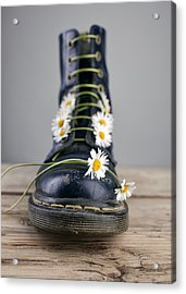 Boots With Daisy Flowers Acrylic Print