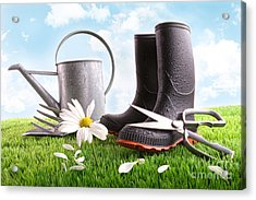 Boots With Watering Can And Daisy In Grass  Acrylic Print by Sandra Cunningham