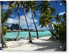 Bora Bora Beach Hammock Acrylic Print by Owen Ashurst