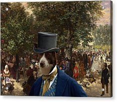 Border Collie Art Canvas Print - Afternoon In The Tuileries Gardens Acrylic Print by Sandra Sij
