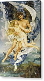 Boreas And Oreithyia Acrylic Print by Evelyn De Morgan