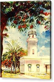 Borinquen Lighthouse Aguadilla Puerto Rico Acrylic Print by Estela Robles