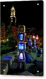 Boston At Night 1 Acrylic Print by Andrew Dinh