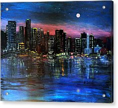 Boston At Night Acrylic Print