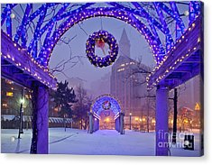 Boston Blue Christmas Acrylic Print