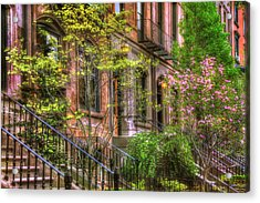 Boston Brownstones In Spring - Back Bay Acrylic Print by Joann Vitali