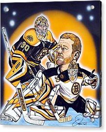 Boston Bruins Goalie Tim Thomas Acrylic Print by Dave Olsen