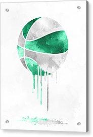 Boston Celtics Dripping Water Colors Pixel Art Acrylic Print