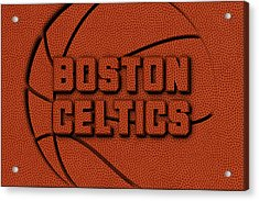 Boston Celtics Leather Art Acrylic Print by Joe Hamilton
