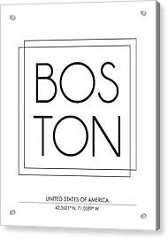 Boston City Print With Coordinates Acrylic Print