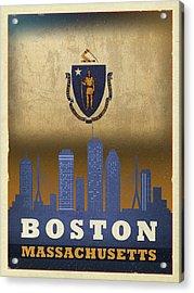 Boston City Skyline State Flag Of Massachusetts Art Poster Series 016 Acrylic Print
