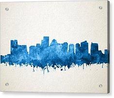 Boston City Skyline Watercolor 11 Acrylic Print