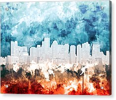 Boston City Skyline Watercolor 2 Acrylic Print