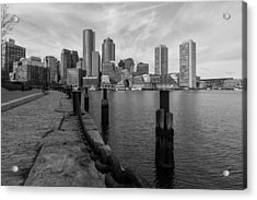 Boston Cityscape From The Seaport District In Black And White Acrylic Print