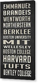 Boston Colleges Poster Acrylic Print by Edward Fielding