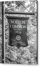 Boston Common Sign Black And White Photo Acrylic Print