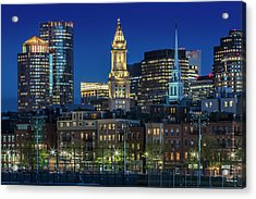 Boston Evening Skyline Of North End And Financial District Acrylic Print