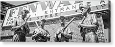 Boston Fenway Park Sign And Four Bronze Statues Acrylic Print by Paul Velgos