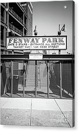 Boston Fenway Park Sign Black And White Photo Acrylic Print by Paul Velgos