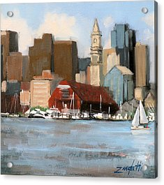 Boston Harbor Acrylic Print by Laura Lee Zanghetti