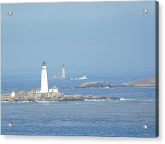 Boston Harbor Lighthouses Acrylic Print by Catherine Gagne