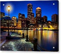 Boston Harbor Skyline Painting Of Boston Massachusetts Acrylic Print by James Charles
