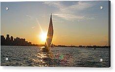 Boston Harbor Sunset Acrylic Print by Laura Lee Zanghetti