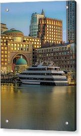 Boston Harborwalk Daybreak Acrylic Print by Susan Candelario