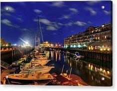 Boston Long Wharf At Night Acrylic Print