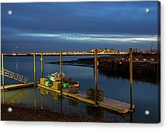 Boston Ma Belle Isle Boat Pier And Skyline Logan Airport Acrylic Print by Toby McGuire