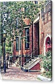 Boston Ma - Walking The Dog On Mount Vernon Street Acrylic Print