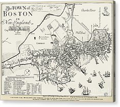 Boston Map, 1722 Acrylic Print by Granger