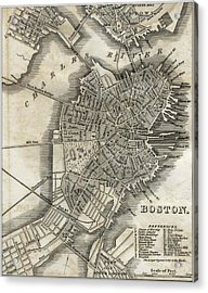 Boston Map Of 1842 Acrylic Print by George Pedro