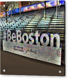 Acrylic Print featuring the photograph Boston Marathon Sign by Joann Vitali