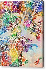 Boston Massachusetts Street Map Acrylic Print by Michael Tompsett