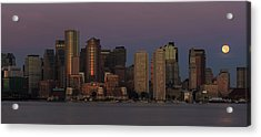 Boston Moonset And Sunrise Acrylic Print