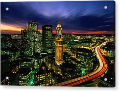 Boston Night Aerial With Time Exposure Acrylic Print by Joel Sartore