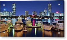 Boston Night Panoramic View Acrylic Print by Frozen in Time Fine Art Photography
