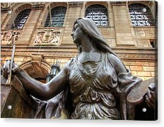 Acrylic Print featuring the photograph Boston Public Library Lady Sculpture by Joann Vitali