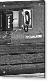 Boston Red Sox Dugout Telephone Bw Acrylic Print by Susan Candelario