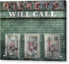 Acrylic Print featuring the photograph Boston Red Sox Fenway Park Ticket Booth In Winter by Joann Vitali