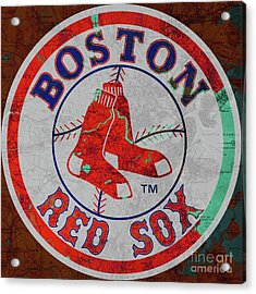 Boston Red Sox Logo On Old Boston Map Acrylic Print by Pablo Franchi