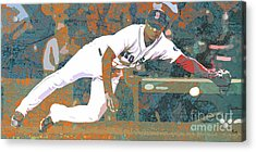 Boston Red Sox Player On Boston Harbor Map Acrylic Print by Pablo Franchi