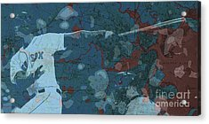 Boston Red Sox Player On Boston Harbor Map, Vintage Blue Acrylic Print by Pablo Franchi