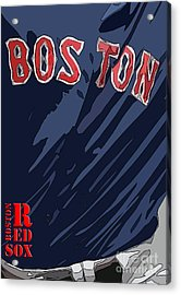 Boston Red Sox Typography Blue Acrylic Print