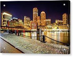 Boston Skyline At Night And Harborwalk Picture Acrylic Print