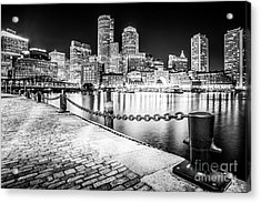 Boston Skyline At Night Black And White Picture Acrylic Print