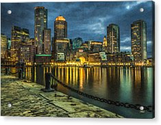 Boston Skyline At Night - Cty828916 Acrylic Print